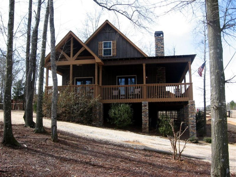 2 Bedroom Cabin Plan with Covered Porch   Little River Cabin craftsman cabin house plan with wraparound porch little