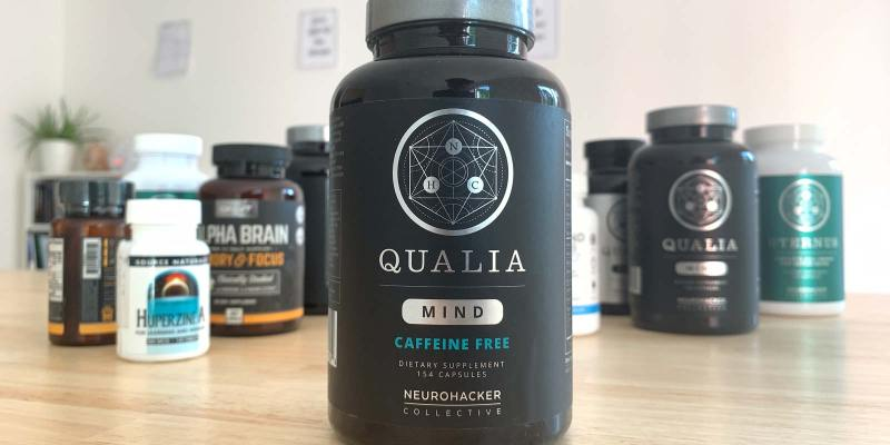 Qualia Mind Caffeine Free Bottle and other nootropic stacks