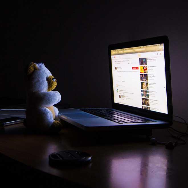 Late night laptop screen