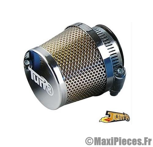 filtre a air adaptable diametre28 35 conique grille droit chrome chrome