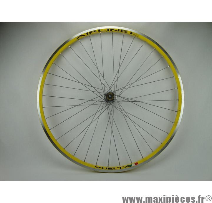 roue arriere 700c course route rodi airline jaune moyeu aluminium a blocage cassette 8 9 10 vitesses destockage