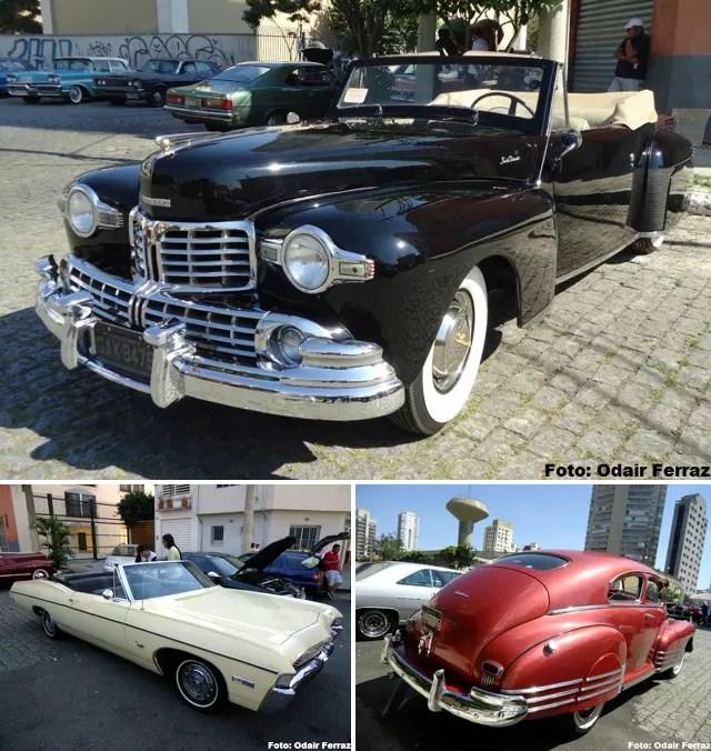 No alto, Lincoln Continental 1947. Abaixo, Impala 1968 e Chevrolet Fleetline 1946