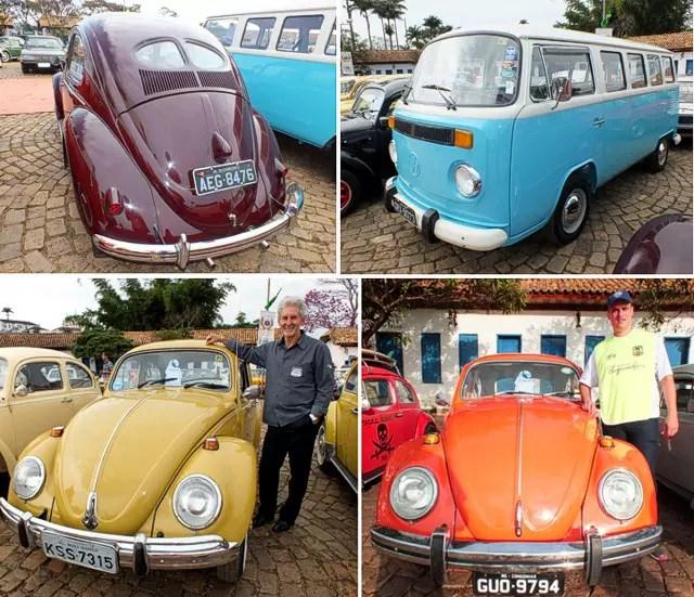 Quatro dois muitos ótimos Volkswagens clássicos: Fusca Split 1951, Kombi Clipper 1976 e os 'Fuscões' de Vicente e SSSS