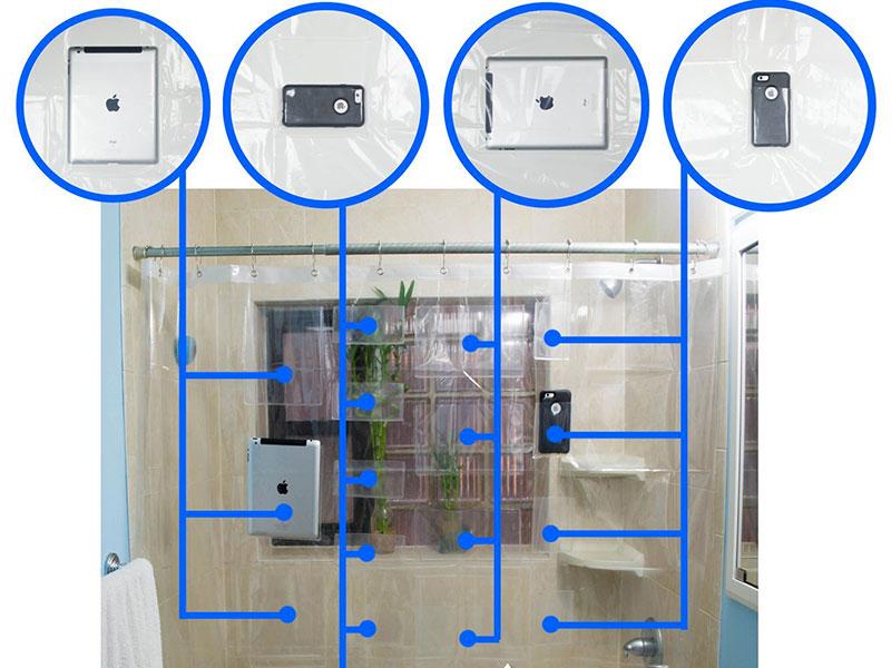 rideau de douche pour smartphone et