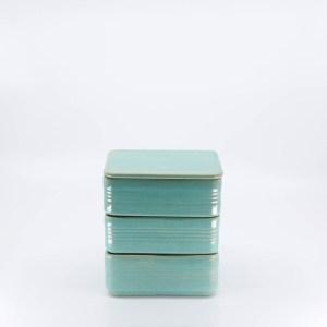Pacific Pottery Hostessware 426 Refrigerator Box Set Green