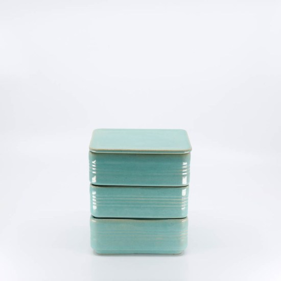 Pacific Pottery Hostessware 426 Refrigerator Box Set Green