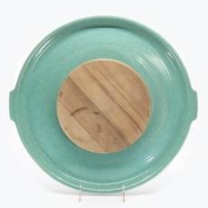 Pacific Pottery Hostessware 414 413 Tab Target Platter Green