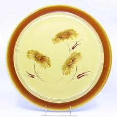 Pacific Pottery Hostessware Decorated Chrysanthemum 612 Chop Plate Yellow