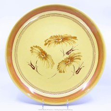 Pacific Pottery Hostessware Decorated Chrysanthemum 624 Low Bowl Yellow