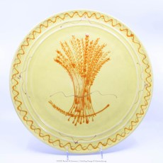 Pacific Pottery Hostessware Decorated Wheat 612 Chop Plate Yellow