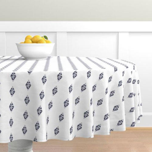 QwkDog Pacific Pottery Logo Print White Tablecloth 01