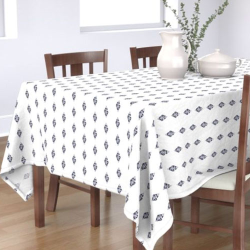QwkDog Pacific Pottery Logo Print White Tablecloth 02