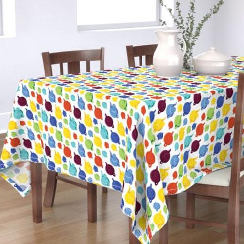 Qwkdog California Teapots Pattern White Tablecloth 03