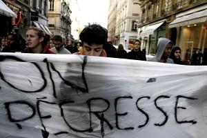 Novembre 2007: manifestation des étudiants dans les rues de Lyon pour protester contre la loi d'autonomie des universités, loi LRU initiée par Valérie Pécresse.