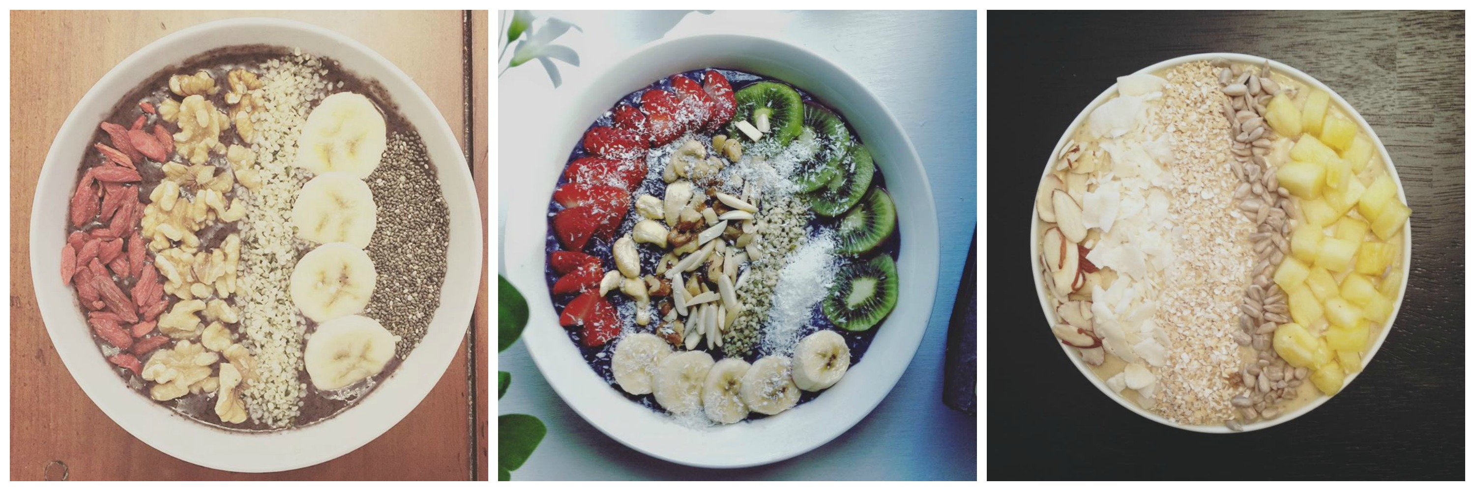 smoothie bowl collage