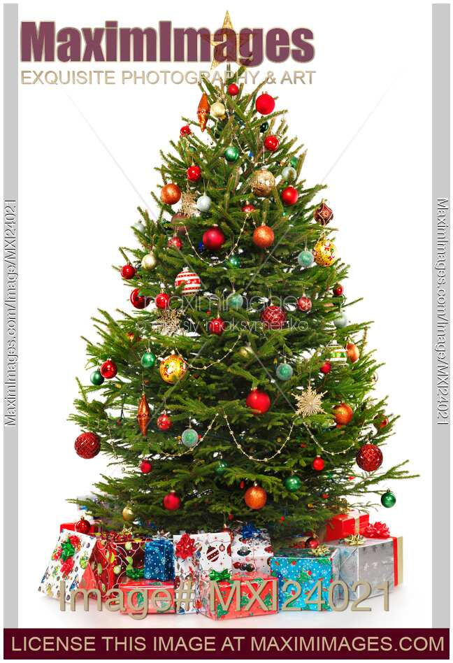 Stock Photo Decorated Christmas Tree With Presents Under