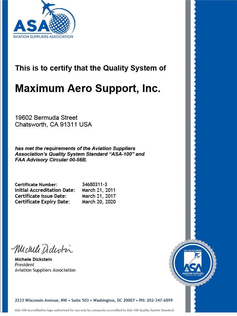 Maximum aero support aviation supplier customized aog programs click on the image above to view certification 1betcityfo Gallery