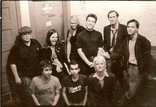 """""""Tim and the Gang"""" of MRR Radio at KPFA 1979 (photo by Mark Berlin)"""
