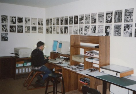 Tim at MRR HQ, 1987 (courtesy of David Hayes)