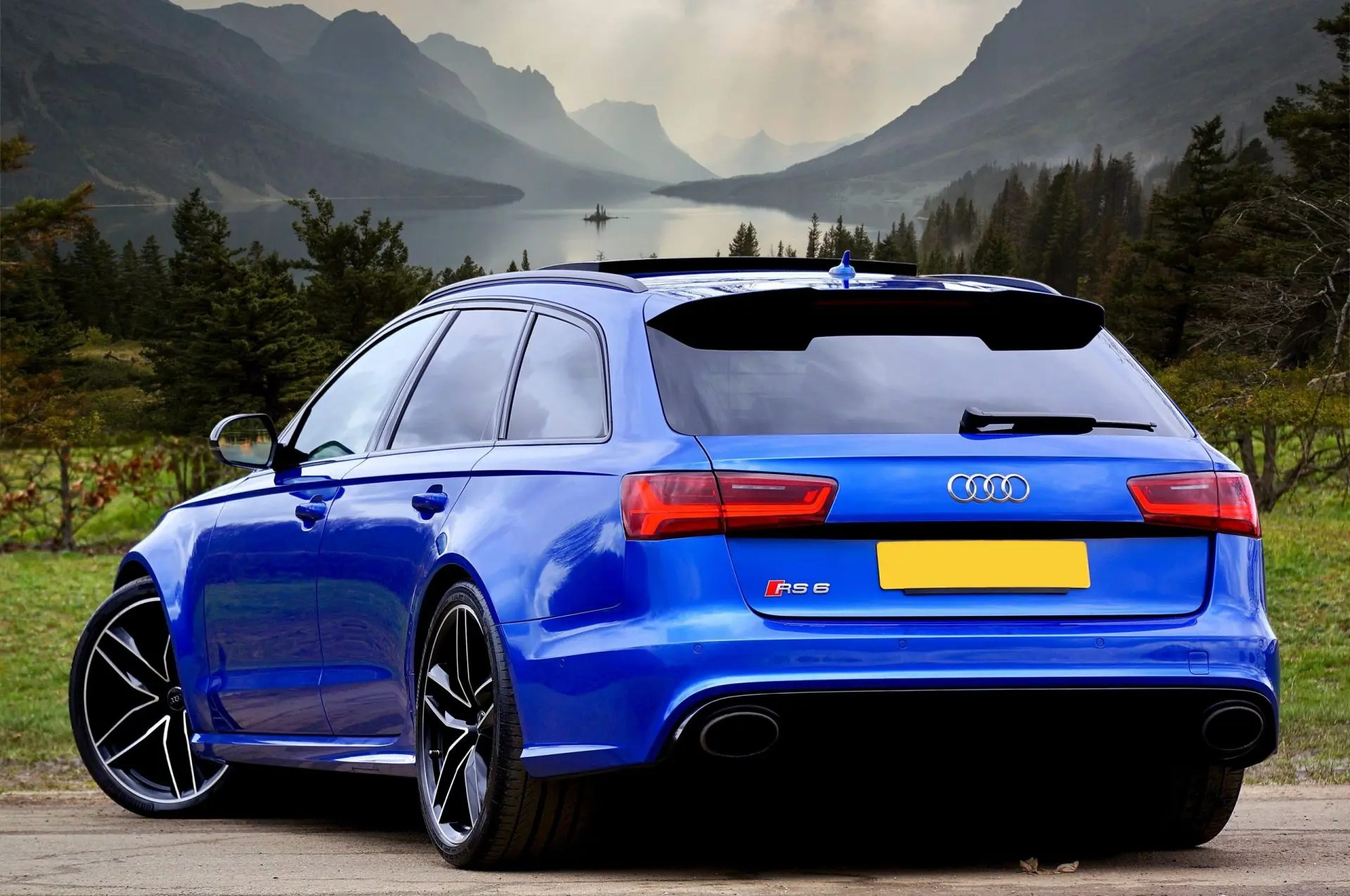 Blue Audi RS6 car with tinted windows