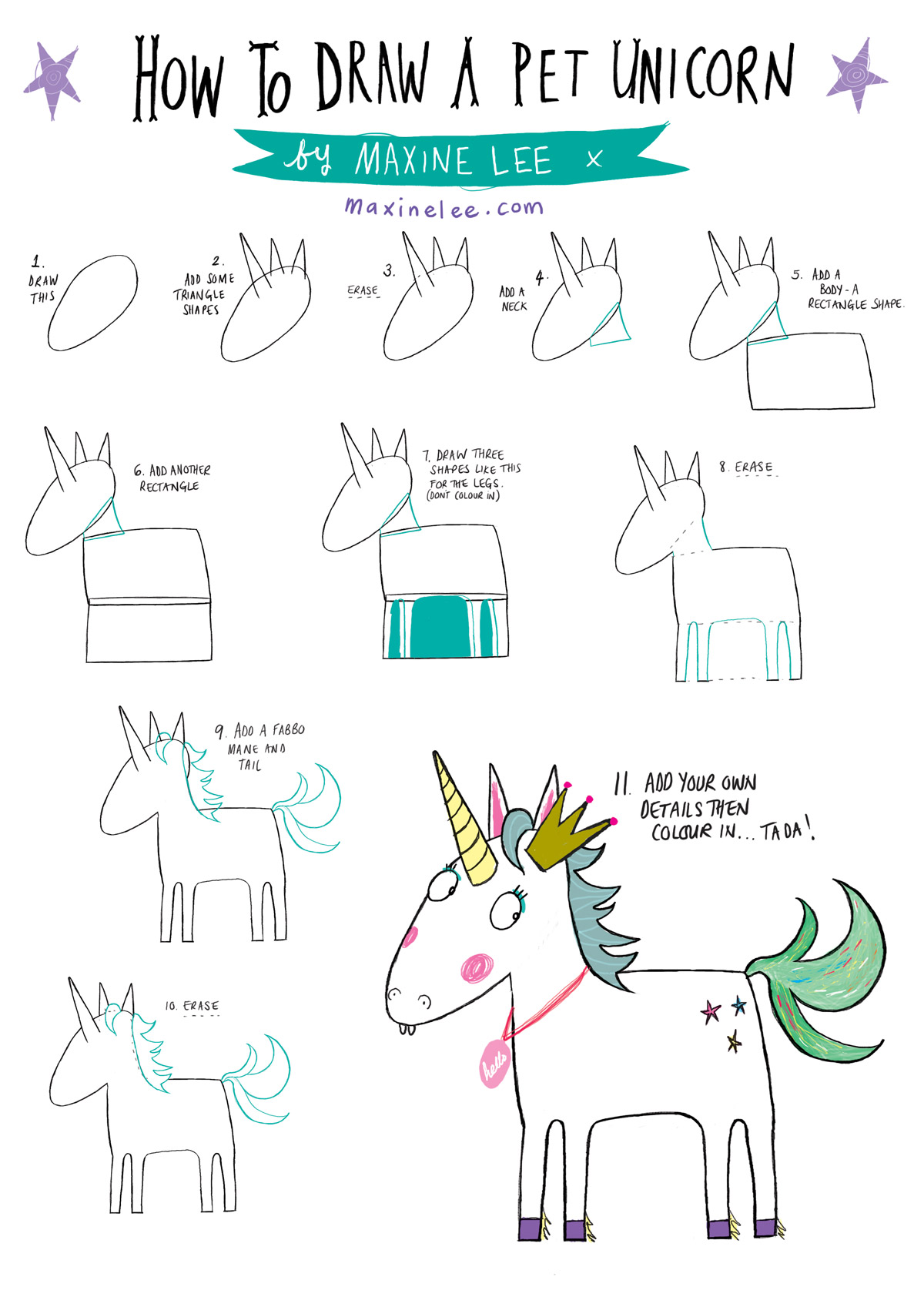 how to draw a pet unicorn maxine lee