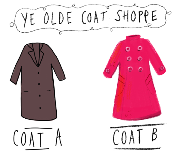An illustration of two coats
