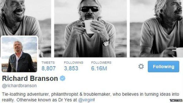 follower twitter Richard Branson