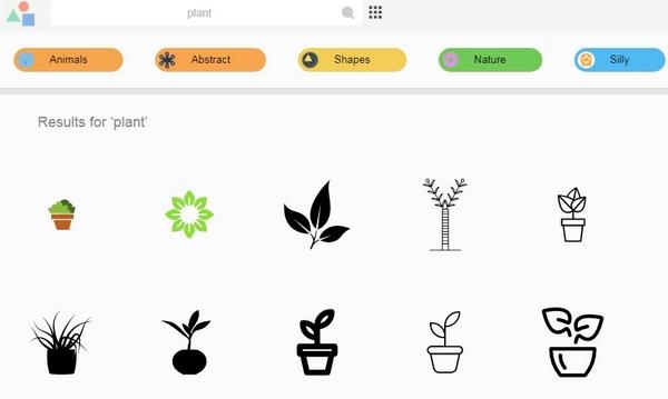 Daftar ikon di Logomakr