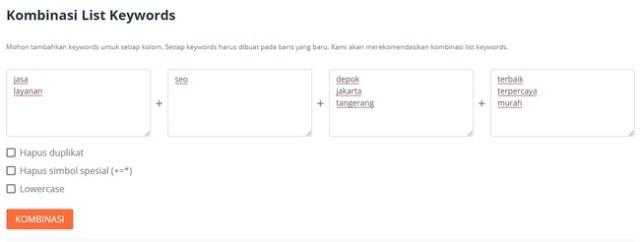 kombinasi list keyword