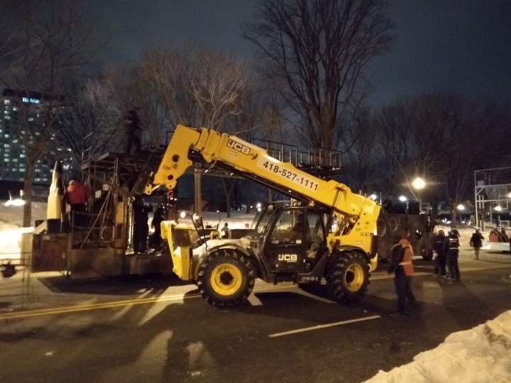 Front-loading at the Winter Carnival in Quebec City, Canada.