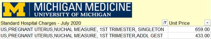 University of Michigan's Nuchal Translucency Ultrasound Price (76813).