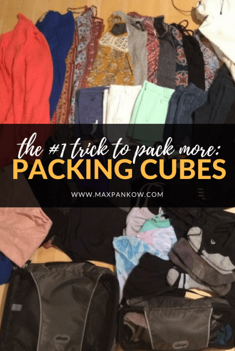 Want to know the secret to packing TONS of clothes in a carry on bag? Packing cubes! This is my #1 trick to bring ONLY a carry on for long term, multi-season, round the world trips. Find out more here. #packingcubes
