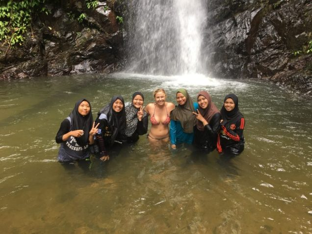 Durian Waterfall picture with locals