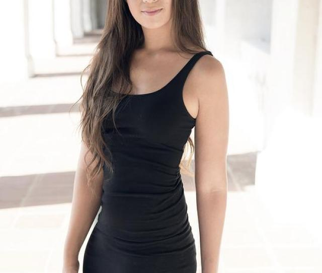 Girl Woman Black Dress Long Hair Sexy Tight Dress