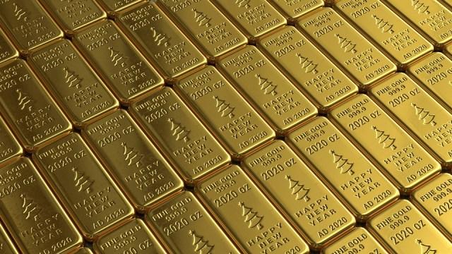 Fine Gold Bars 999.9 2020 oz says Happy New Year AD 2020
