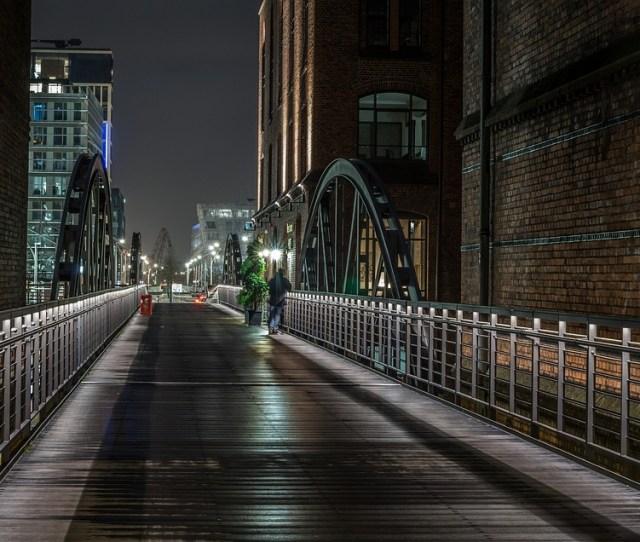 Hamburg Night Speicherstadt Harbour City Bridges