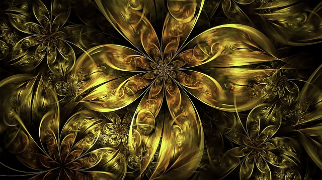 Free Photo Gold Flowers Golden Floral Fractal Metallic