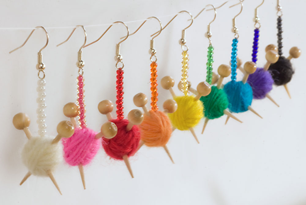 Knitting Needle Amp Ball Of Wool Earrings