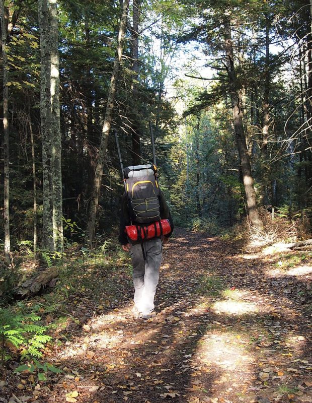 A man carrying Vargo Backpack in a wooded trail