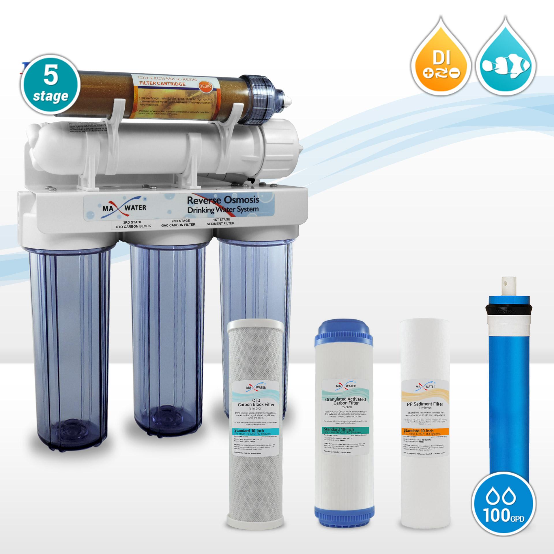5 Stage 100gpd Reef Aquarium Reverse Osmosis Water System
