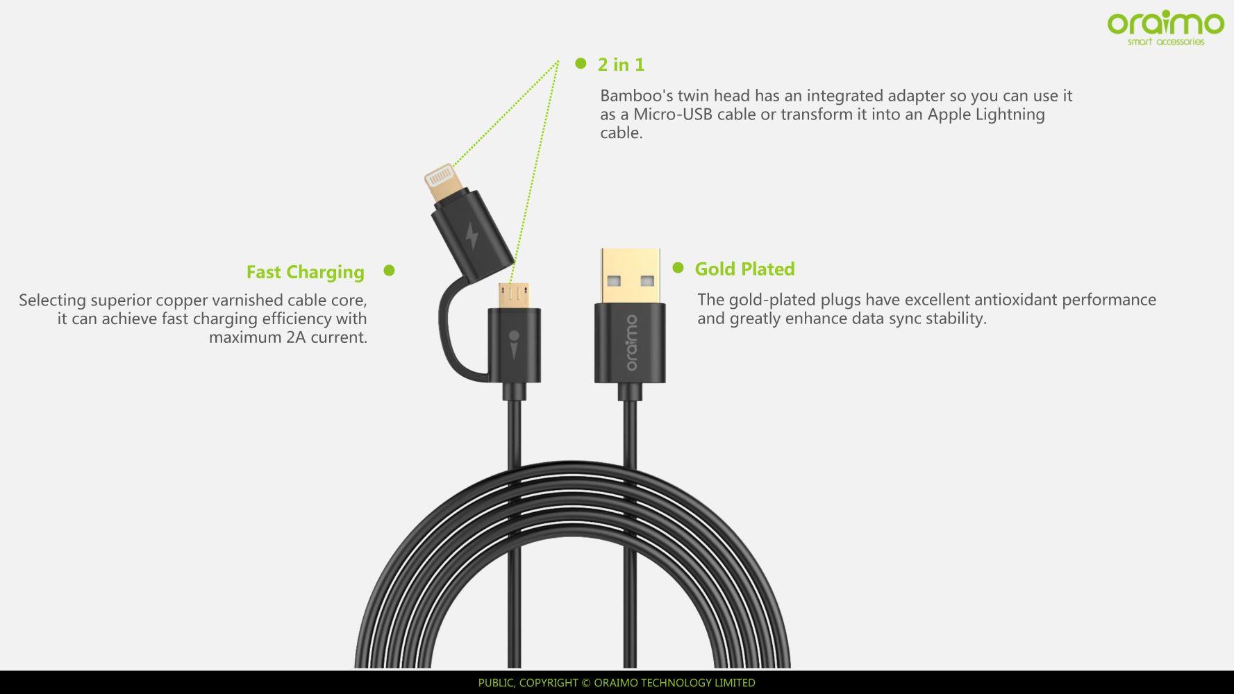 Oraimo Bamboo Twin Head Wire 1m Lighting Amp Micro Usb