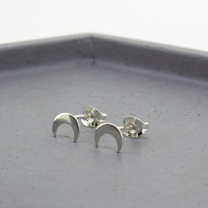 Crescent Moon Silver Stud Earrings