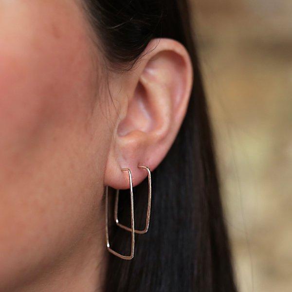 Midi and Mini Rectangular Hoop Earrings