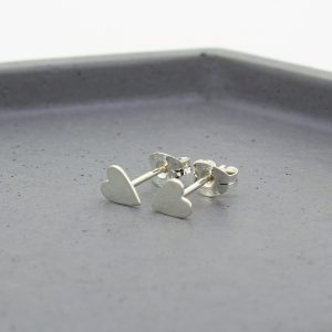 Silver Heart Stud Earrings