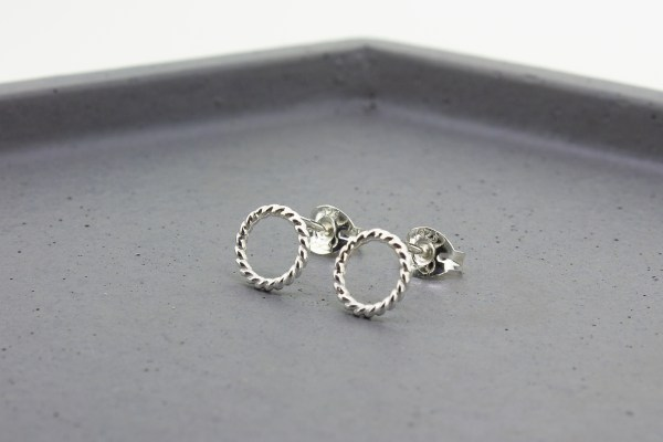 Twisted Silver Open Circle Stud Earrings