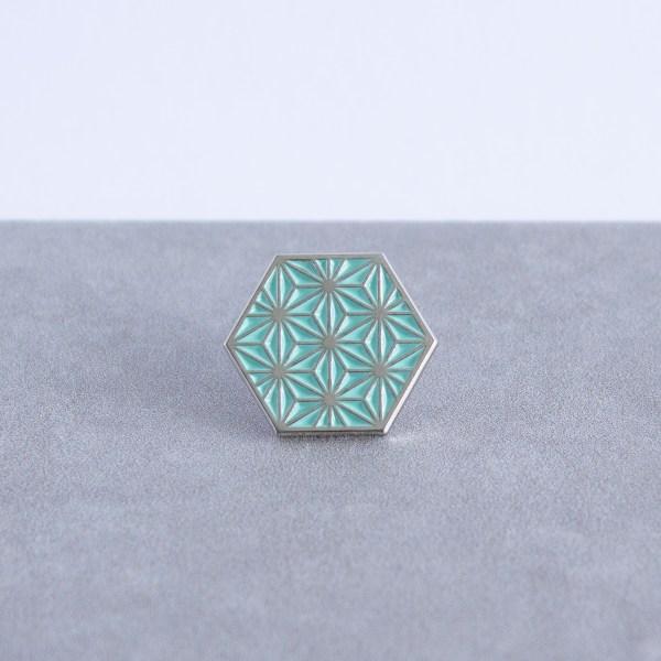 Asanoha pattern hexagonal soft enamel pin - silver and mint