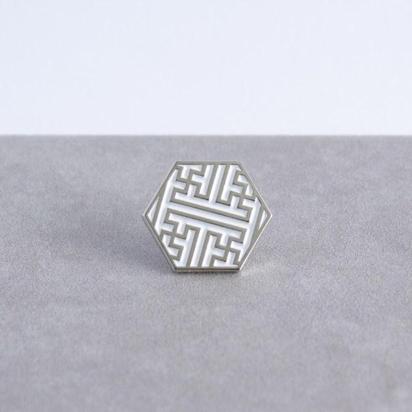 Sayagata pattern hexagonal soft enamel pin - silver and white
