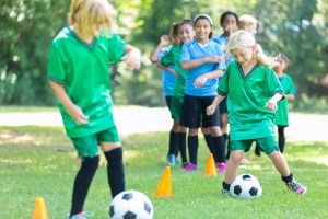 Girls soccer teams practice