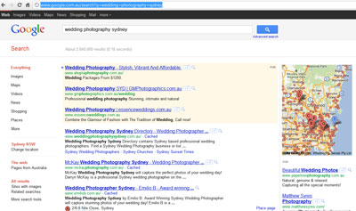 Google results for wedding photographer sydney
