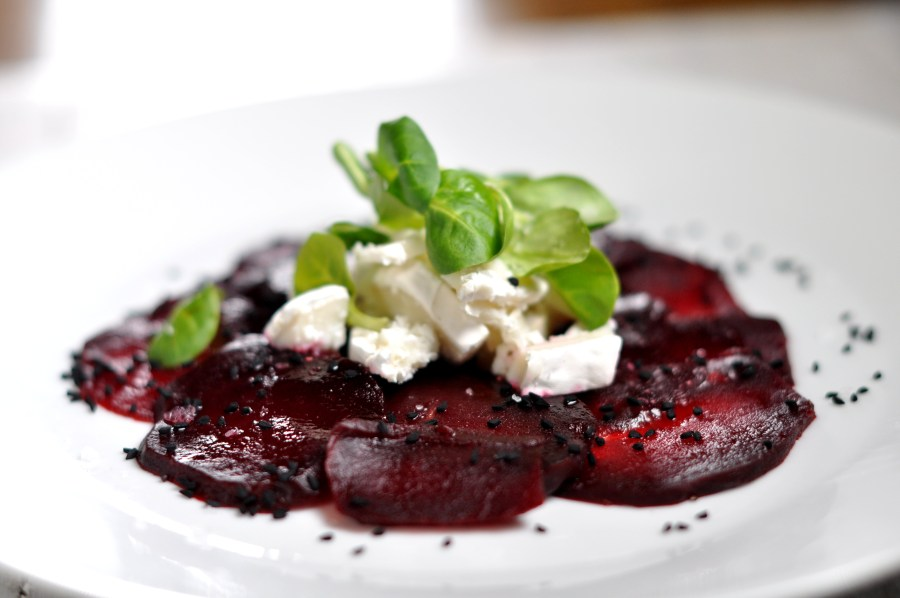 Beetroot carpacio with goat cheese